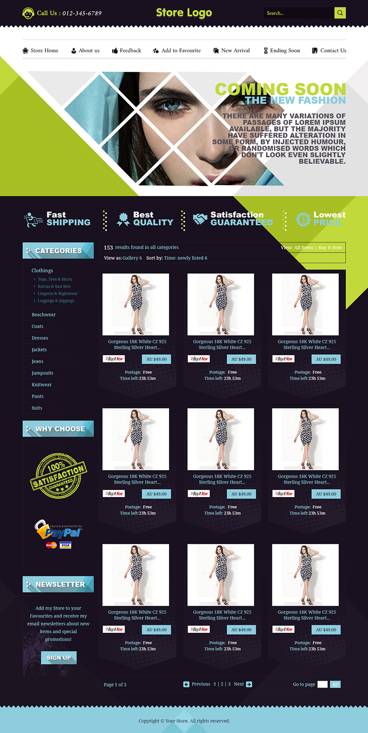 Beautiful ebay shop design and listing auction html for Ebay store design templates free