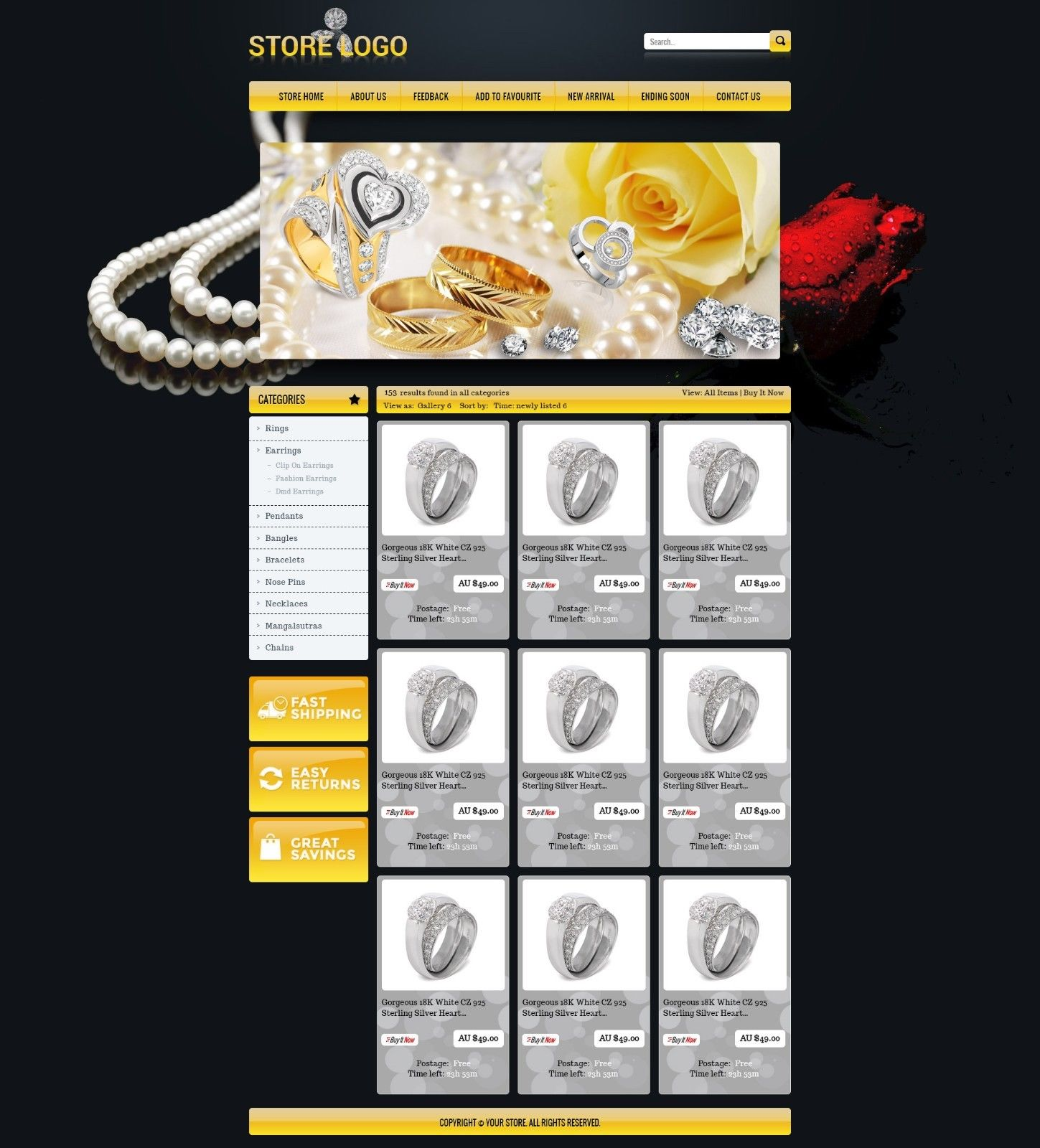 Professional eBay Store & Listing Auction HTML Template For Jewelry ...